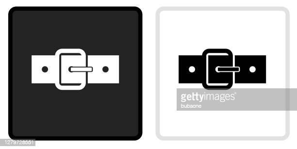 白いロールオーバーの黒いボタンのベルトアイコン - バックル点のイラスト素材/クリップアート素材/マンガ素材/アイコン素材