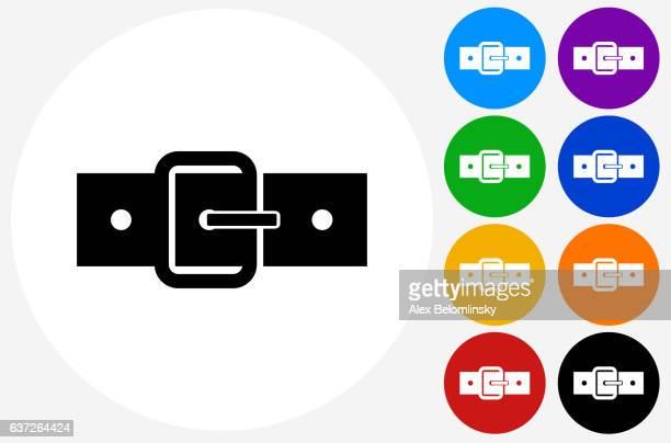 Belt Icon on Flat Color Circle Buttons