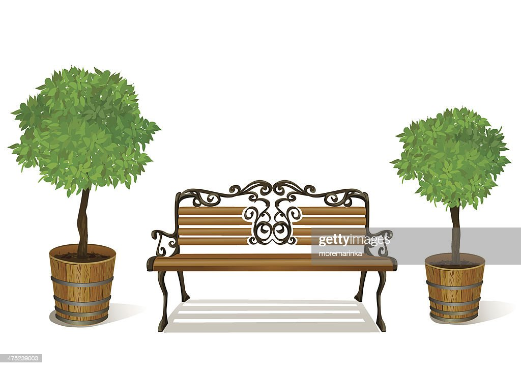 bench and trees in pots isolated