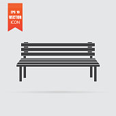 Bench icon in flat style isolated on grey background.