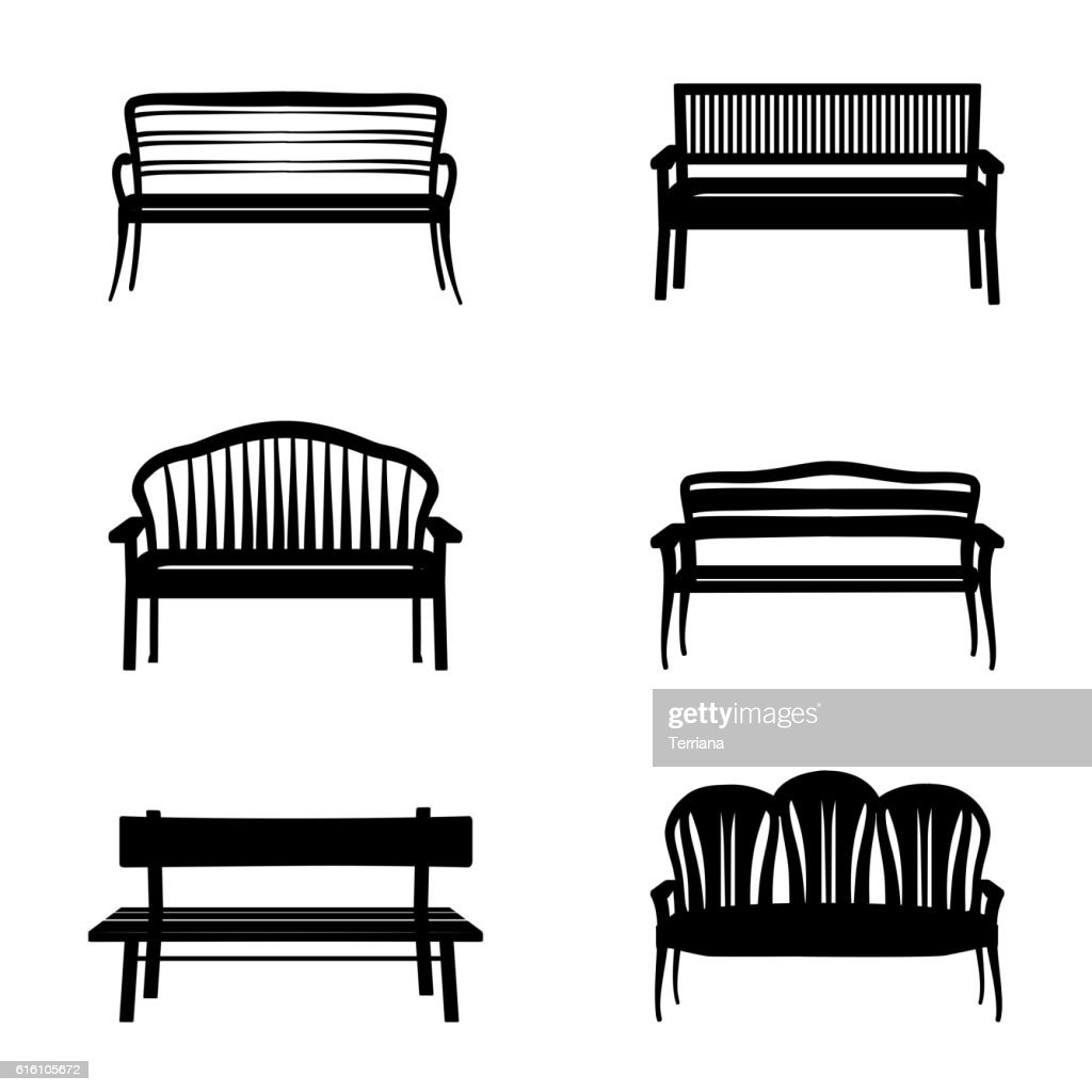 Bench set. Garden benches icon silhouette collection