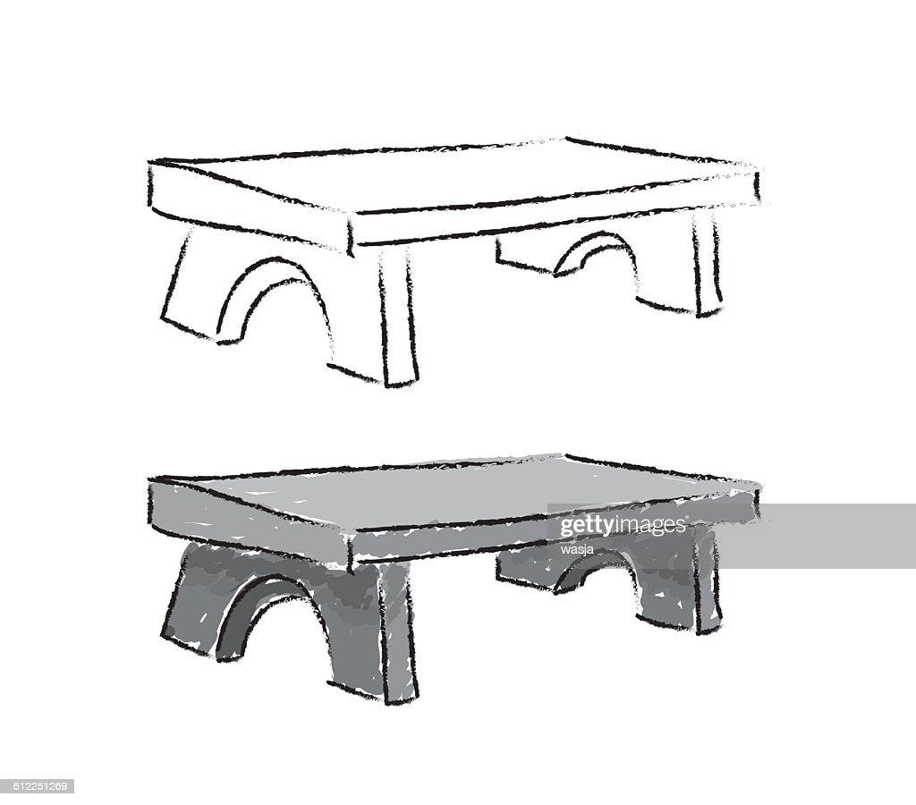 bench sketch, vector illustration