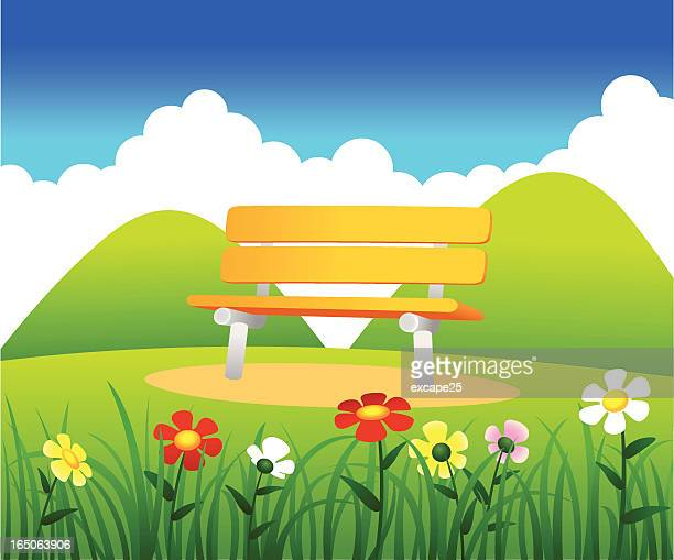 bench - natural parkland stock illustrations, clip art, cartoons, & icons