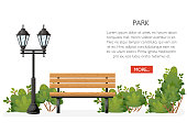 Bench with bushes and lantern. Cartoon style design. Park concept. Vector illustration on white background. Web site page and mobile app design