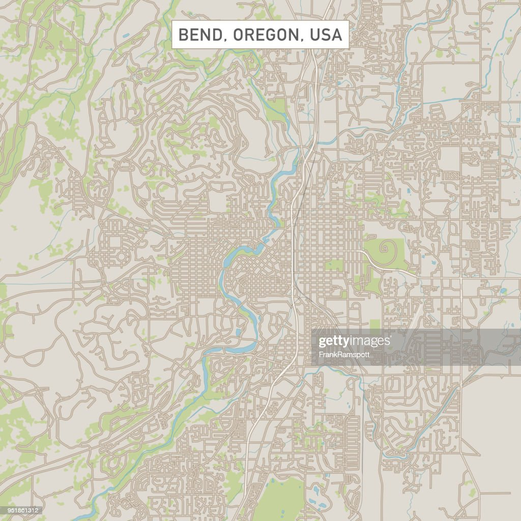Bend Oregon Us City Street Map stock illustration - Getty Images
