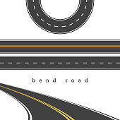 Bend Road, Straight and Curved Roads Vector Set, Road Junction. Vector Illustration. White and Yellow Road Marking