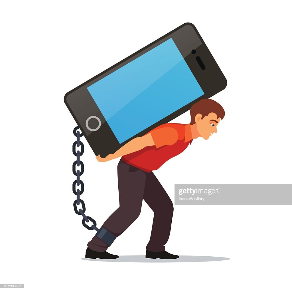 Bended man carrying big and heavy mobile phone