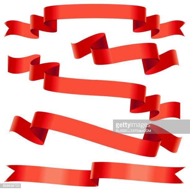 bending red ribbons - ribbon sewing item stock illustrations, clip art, cartoons, & icons