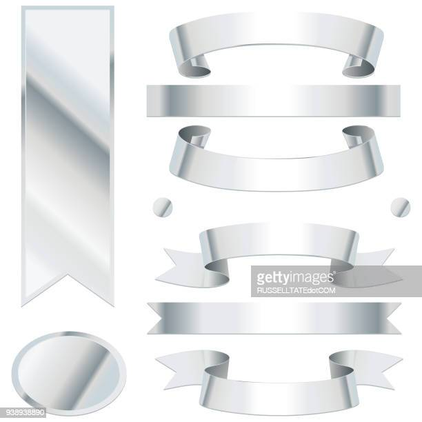 bending silver ribbons - silver coloured stock illustrations