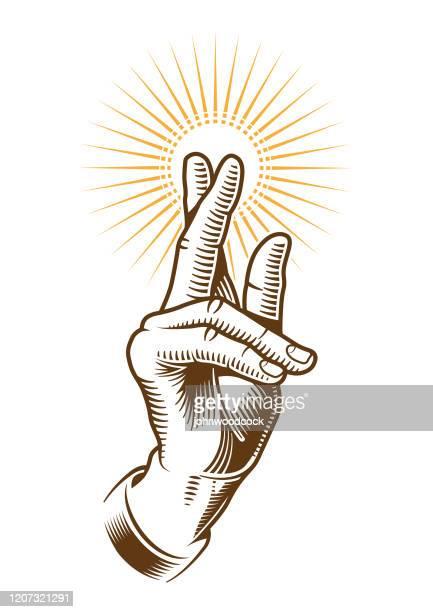 ilustrações de stock, clip art, desenhos animados e ícones de benediction hand illustration - santos
