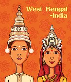 Bengali Couple in traditional costume of West Bengal, India