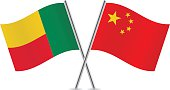 Benin and China flags. Vector.