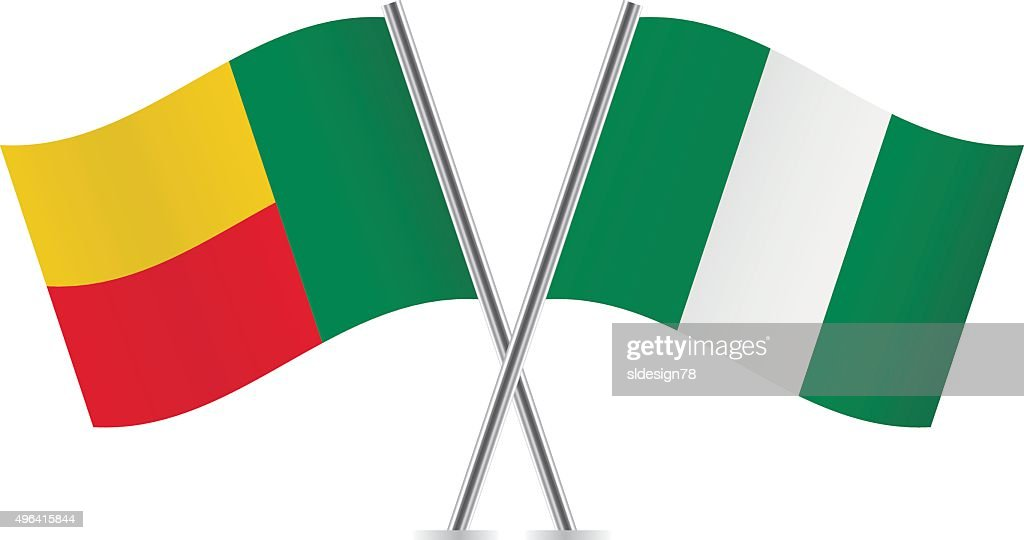 Benin and Nigerian flags. Vector.