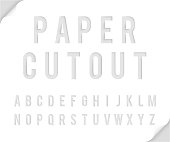 Bent paper cutout font template alphabet vector illustration