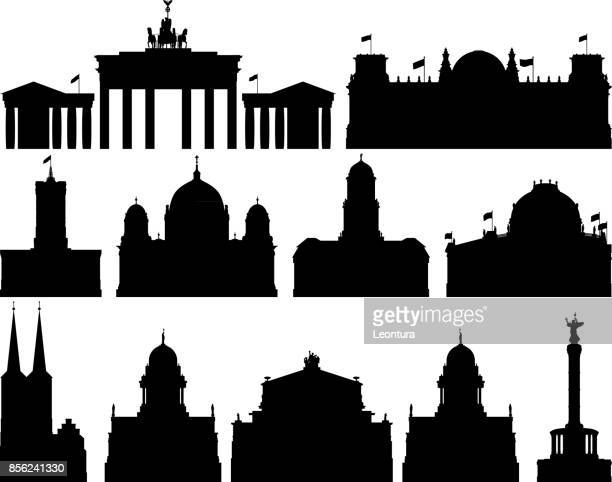 berlin buildings - brandenburg gate stock illustrations, clip art, cartoons, & icons