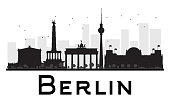 Berlin City skyline black and white silhouette.