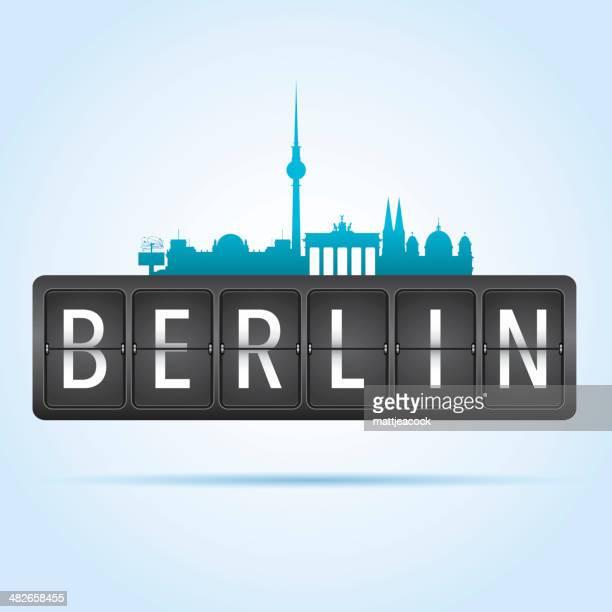 berlin departure board - transportation building type of building stock illustrations, clip art, cartoons, & icons