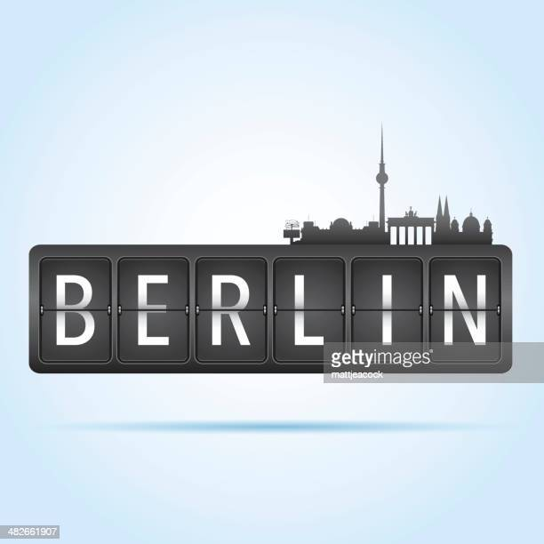 berlin departure board - brandenburg gate stock illustrations, clip art, cartoons, & icons