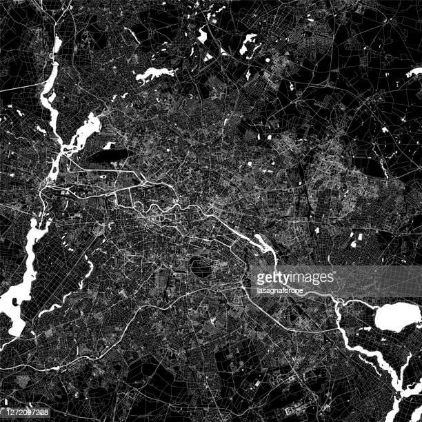 berlin, germany vector map - olympiastadion berlin stock illustrations