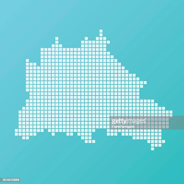 Berlin Map Basic Square Pattern Turquoise