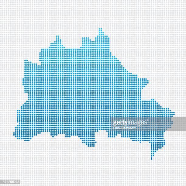 Berlin Map Blue Dot Pattern