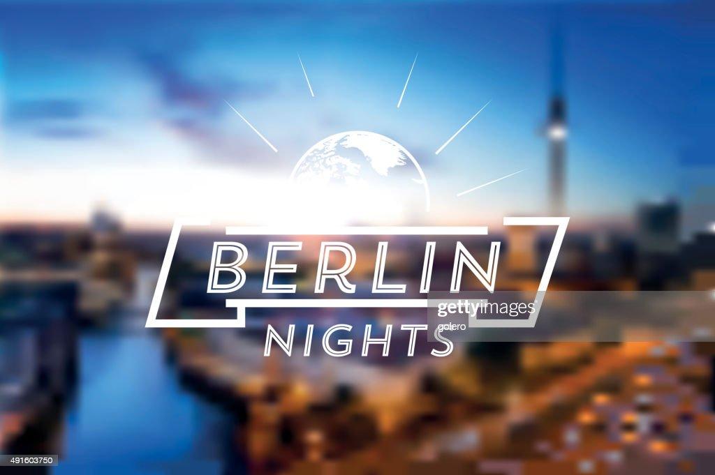 Berlin Night Life Line Symbol On Blurred Background Vector Art