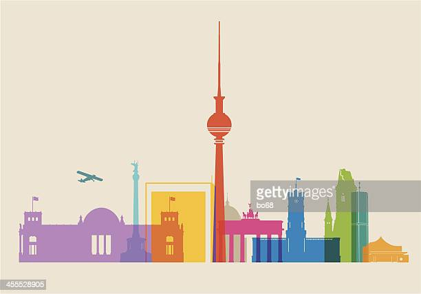 berlin skyline colored - brandenburg gate stock illustrations, clip art, cartoons, & icons