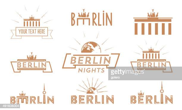 berlin travel vintage icon set - brandenburg gate stock illustrations, clip art, cartoons, & icons