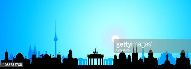 berlin (all buildings are separate and complete) - brandenburg gate stock illustrations, clip art, cartoons, & icons