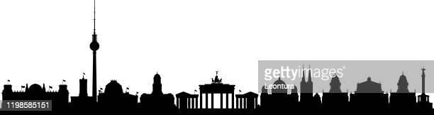 berlin (alle gebäude sind komplett und beweglich) - panorama stock-grafiken, -clipart, -cartoons und -symbole