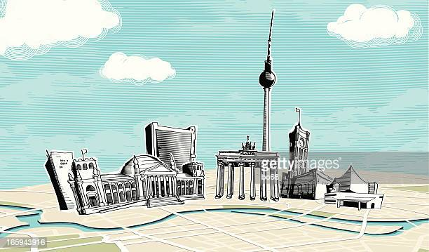 berlin - illustration technique stock illustrations