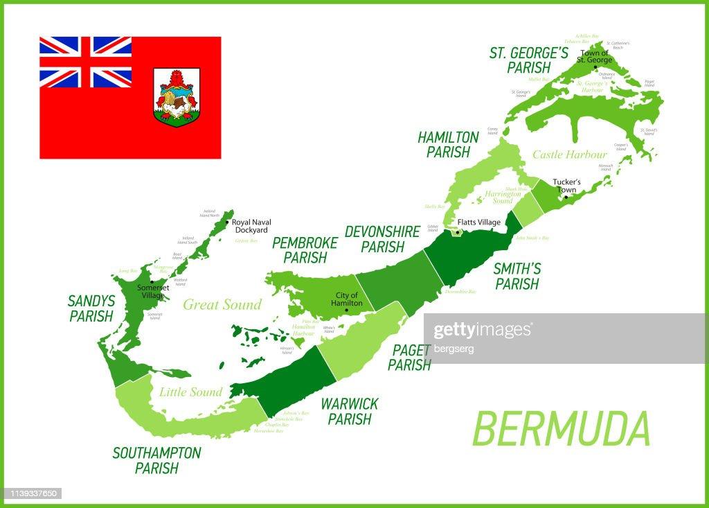 Bermuda Green Map Mit Nationalflagge Und Provinzen ...