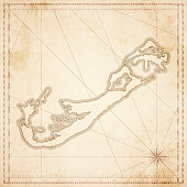 Bermuda map in retro vintage style - old textured paper