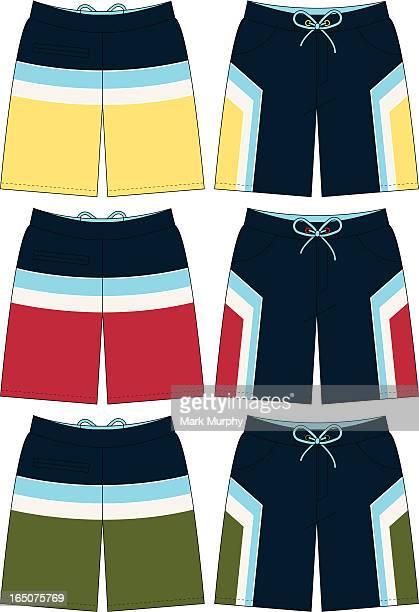 bermuda style board short with strip detail - swimwear stock illustrations, clip art, cartoons, & icons