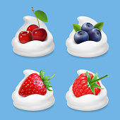 Berries and yogurt. Realistic illustration vector icon set