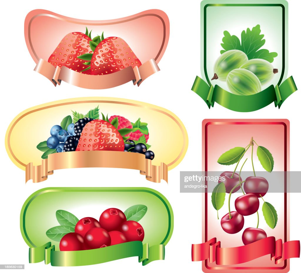 Berries labels vector set