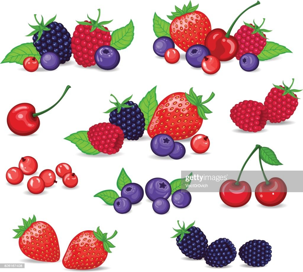 Berries Set Vector Illustration. Strawberry, Blackberry, Blueberry, Cherry, Raspberry, Red currant. Berries and their Combinations Set