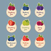 Berry icon set. Labels with berries. Flat style, vector illustration.