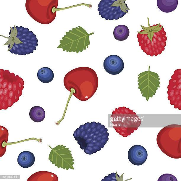 berry seamless background - raspberry stock illustrations, clip art, cartoons, & icons