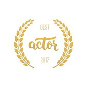 Best actor awards in golden color with laurel wreath and 2017 text