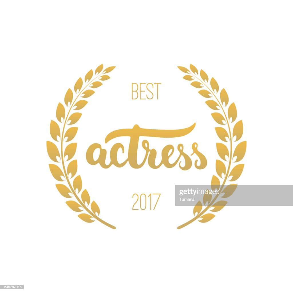 Best actress awards in golden color with laurel wreath and 2017 text