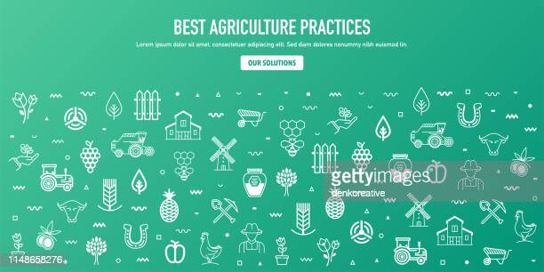 Best Agricultural Practices Outline Style Web Banner Design