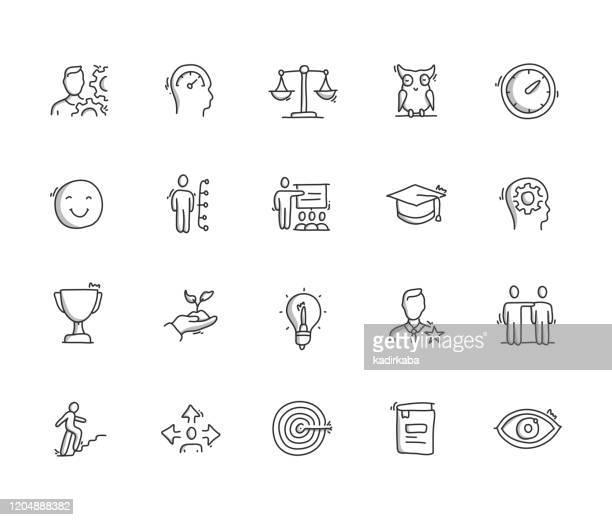 illustrazioni stock, clip art, cartoni animati e icone di tendenza di set di icone di disegno manuale abilità best and practice - disegnare