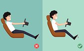 Best and worst positions for driving a car