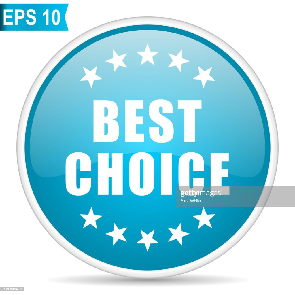 Best choice blue glossy round vector icon in eps 10. Editable modern design internet button on white background.