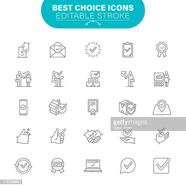 best choice icons - representing stock illustrations