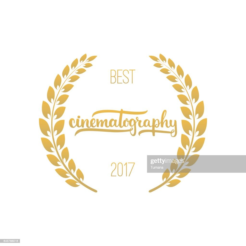 Best cinematography awards in golden color with laurel wreath and 2017 text