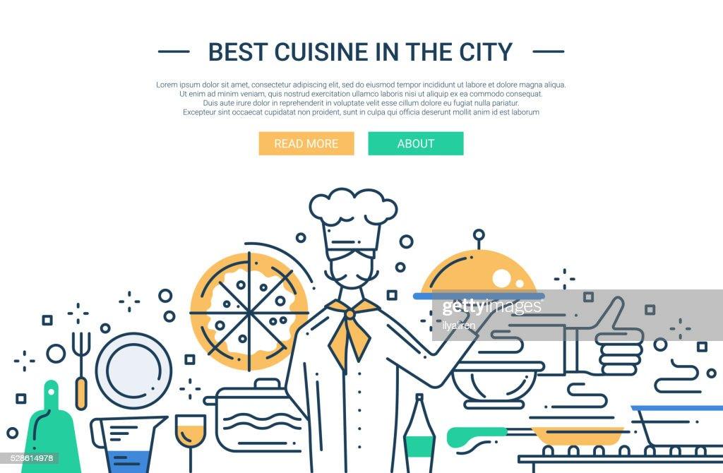 Best Cuisine In the City - line design website banner