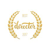 Best director awards in golden color with laurel wreath and 2017 text