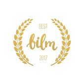 Best film awards in golden color with laurel wreath and 2017 text